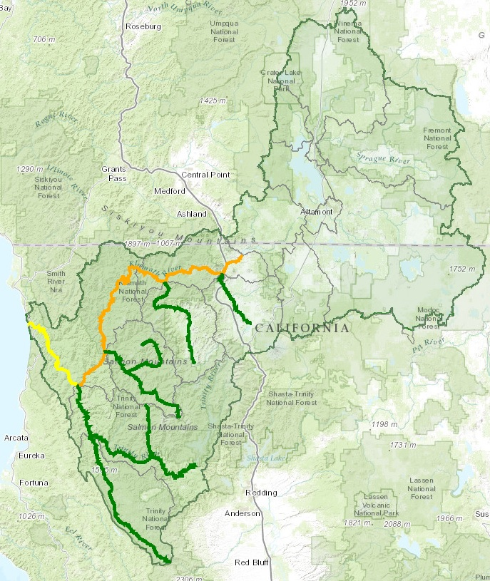 KFHAT map Orange IG to WE Yellow WE to Estuary Green Tributaries